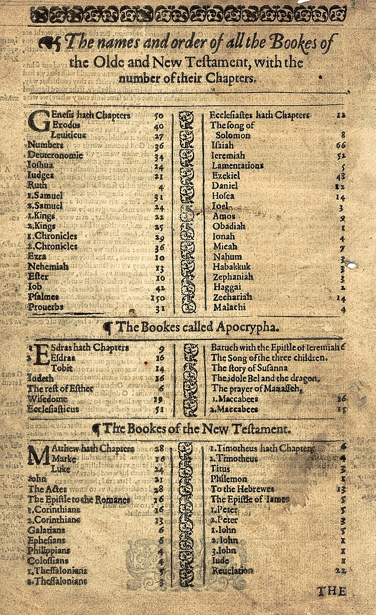 King James Bible : Contents